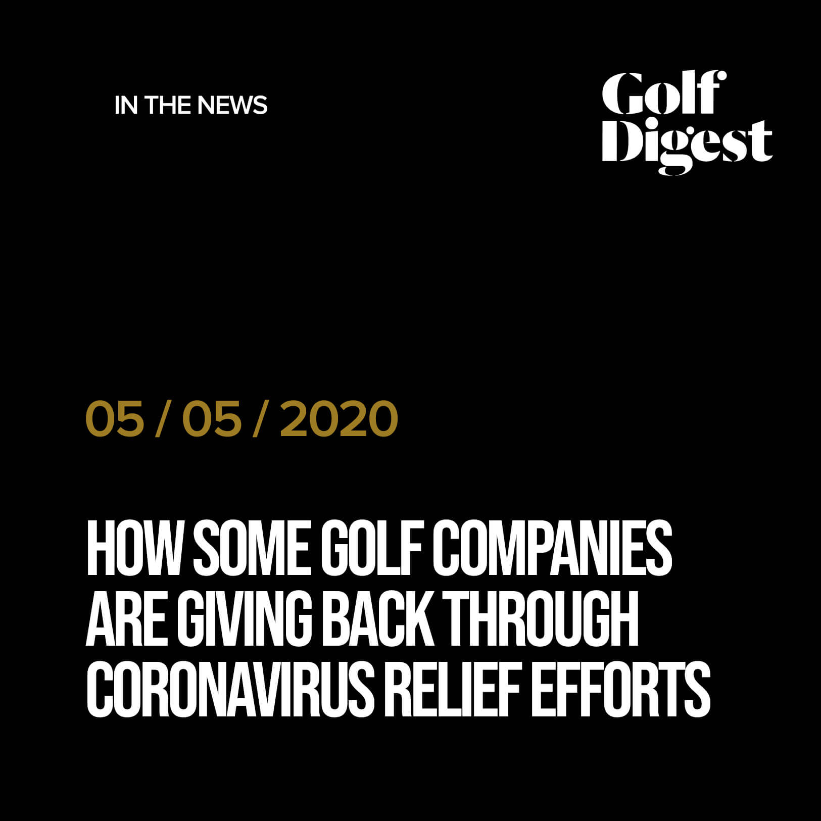 How some golf companies are giving back through coronavirus relief efforts