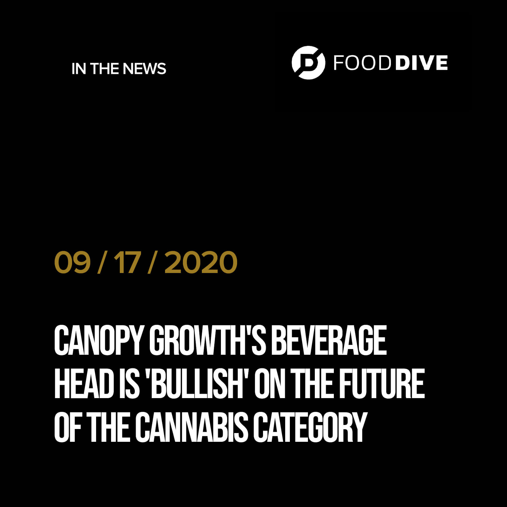 Canopy Growth's beverage head is 'bullish' on the future of the cannabis category