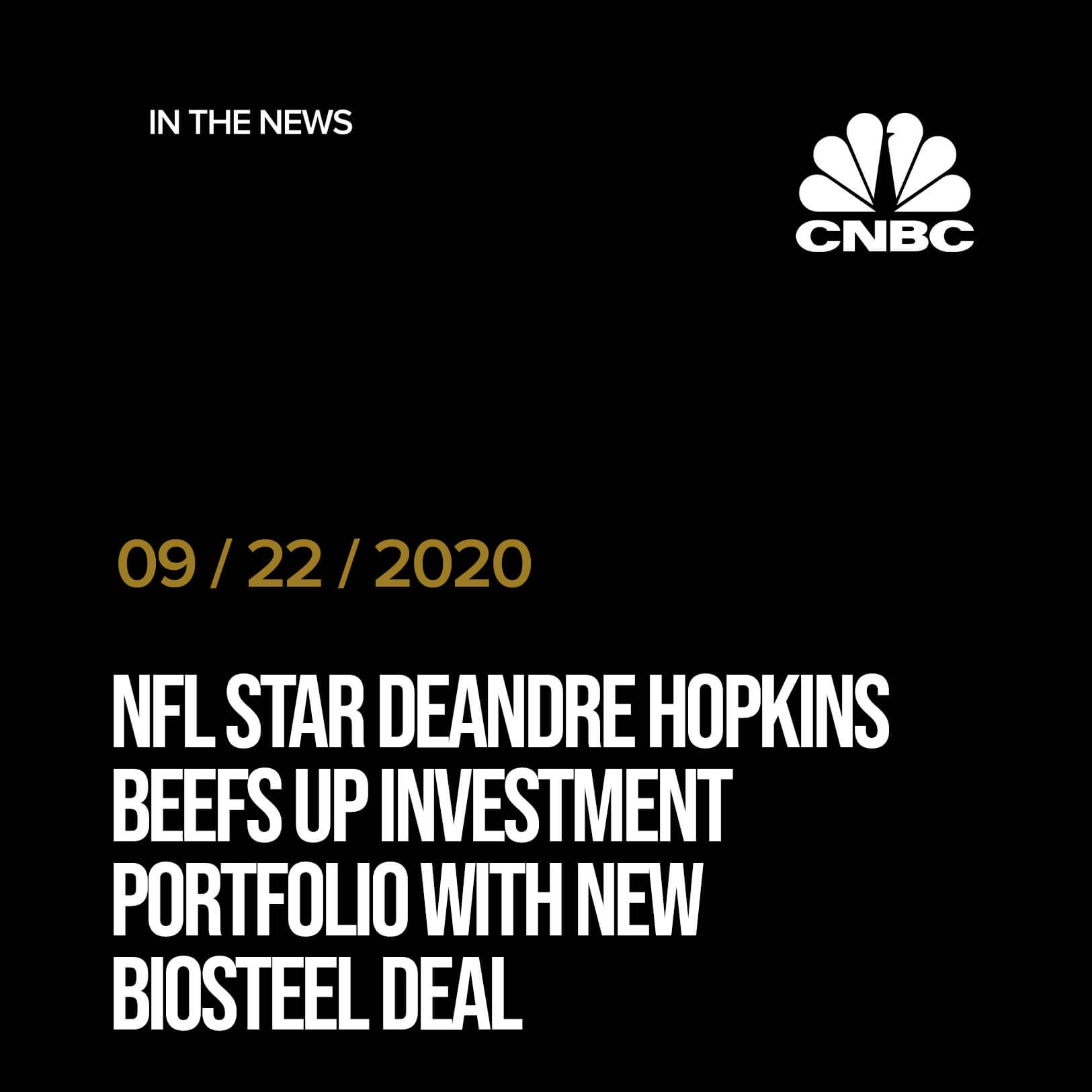 NFL star DeAndre Hopkins beefs up investment portfolio with new BioSteel deal