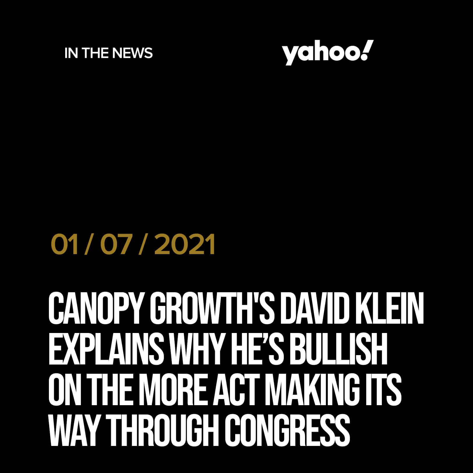 Canopy Growth's David Klein explains why he's bullish on the MORE Act making its way through Congress